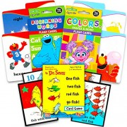 Sesame Street First Words Flash Cards for Toddlers Set- Beginning Words, Colors and Dr. Seuss One Fish Two Numbers Card Game (Learning Toys)