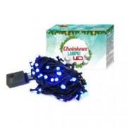 Instalatie de Craciun pentru brad lungime 10 m 100 becuri LED albastre 8 moduri de iluminare