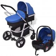 vidaXL Carrinho de bebé 3 em 1 alumínio azul e preto