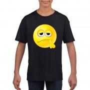 Bellatio Decorations Emoticon bedenkelijk t-shirt zwart kinderen