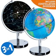 Illuminated World Globe, 3-in-1 Educational Toy Rotating Globe, Globes of the World, Classic Design at Day, Built in LED Glowing Star Constellation Map Nightlight for Kids With Stand Interactive Globe by USA Toyz