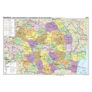 Romania. Harta administrativa si a principalelor cai de comunicatie 100x70 cm