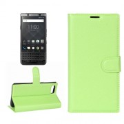 For BlackBerry Keyone Litchi Texture Horizontal Flip Leather Case with Holder & Card Slots & Wallet(Green)