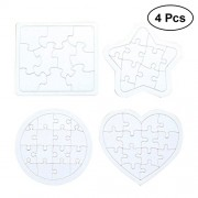 TOYMYTOY Kids Coloring Blank Puzzle DIY Paper Jigsaw Puzzles Drawing Doodle Board,4 Pcs