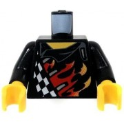 LEGO LOOSE TORSO Black Torso Checkered Jacket with Flame Job & Flaming Skull on the Back