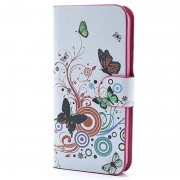 Carteira de Couro para iPhone 5 / 5S / SE - Borboletas / Círculos