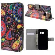 Кожен калъф за Samsung Galaxy S7 с флорални мотиви