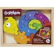 Melcul cu numere - Puzzle cu piese mari din lemn