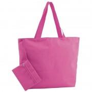 Merkloos Fuchsia roze polyester shopper/boodschappen tas met rits 47 cm