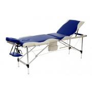 Łóżko do masażu 3 segmentowe aluminiowe dwukolorowe biało - niebieskie