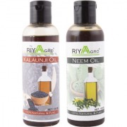 RIYAAGRO (Combo Pack of 2) 100 Natrual Pure Undiluted Cold Pressed (Kalaunji Neem Oil) For Hair-Scalp-Skin-Face-Nails-- 100 ml