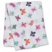 lulujo Baby Cotton Muslin Swaddling Blanket Butterfly