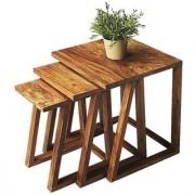 Santosha Decor Solid Sheesham Wood Nesting Tables - Beside Tables for Living Room (PU Polish Set of 3)