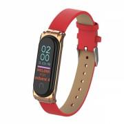 Curea din piele ecologica pentru bratara fitness Xiaomi Mi Band 3 / 4 , rosu