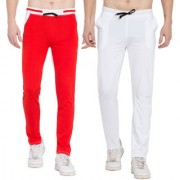 Cliths Set of 2 Stylish Cotton Trackpants for men/ Joggers/ Lowers For Men (White Black Red White)