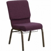 Flash Furniture Fabric Church Chair with Cup/Book Rack - Plum w/Gold Vein Frame, 19 1/4Inch W x 25Inch D x 33 1/4Inch H, Model FCH185GV005B