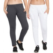 Cliths Women's Pack of 2 White and Dark Grey Solid Cotton Slim Fit Trackpant for Daily Use