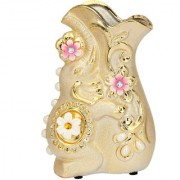 Somil Ceramic Attracttive Golden Color Decorative Flower Pot In Stylish Shape-FP21