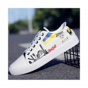 Zapatos de tabla plana tobillo punta redonda fashion-cool-hombre-blanco