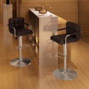 vidaXL Barové židle s područkami 2 ks, hnědá