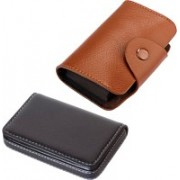 Stealodeal New Brown Leatherite High Quality Wallet With Black Leather 15 Card Holder(Set of 2, Brown, Black)