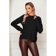 Bluza dama SunShine neagra casual tricotata cu croi larg si guler barcuta