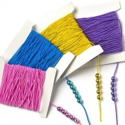 Colored Elastic 4 Assorted Colors 10m Per Color Childrens Jewelry Making (4 Reels)