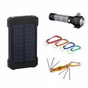 Pachet Aventura cu Acumulator Extern 10000 mAh cu Incarcare Solara + Lanterna Portabila din Metal cu Incarcare Solara Ciocan si Cutter