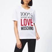 Love Moschino Women's Logo Slogan T-Shirt - Optical White - IT 40/UK 8 - White