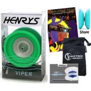 Henrys VIPER YoYo (Green) Professional Ball Bearing YoYo +Instructional Booklet of Tricks + 75 Yo-Yo Tricks DVD & Travel Bag! Pro YoYos For Kids and Adults!
