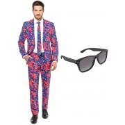 Jaren 90 print heren kostuum / pak - maat 52 (XL) met gratis zonnebril