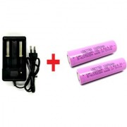 Invento 2pcs 3.7V 2200mah 18650 Li-ion Rechargeable Battery Cell with 1pcs 2 cell 18650 Plug Universal Li-ion Charger