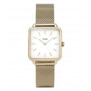 CLUSE Horloges La Tetragone Mesh Gold Plated Wit