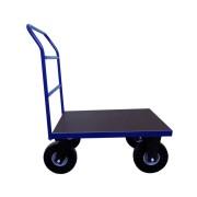 HTI Plošinový vozík 800x600 - s vodorovnými příčkami - 400 kg - Pryžová kola