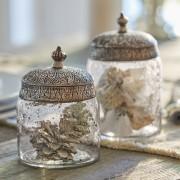 LOBERON Glazen potten set van 2 Laurnena / helder/zilverkleurig