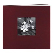 Pioneer 8 Inch by 8 Inch Postbound Silk Fabric Frame Cover Memory Book, Cranberry