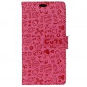 Nokia 8 Textured Wallet Case - Doodle - Hot Pink