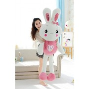 Cartoon Animals Plush Rabbit Toys-Judy Dre am Cute Children's Toy PP Cotton Doll Soft Pink/Green Rabbits Toys for Kid 59-Inch