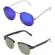 TFASH Aviator, Wayfarer, Round Sunglasses(Blue, Green)