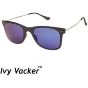 Ivy Vacker Metal Sides Mirrored Blue Wayfarer Sunglasses
