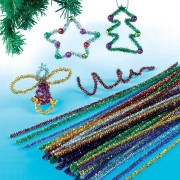 Baker Ross Glitter Pipe Cleaners - 72 Sparkly Tinsel Pipe Cleaners for decorations and crafts in assorted colours. Length 30cm.