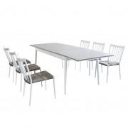 Milani Home DONATO - set tavolo da giardino allungabile in alluminio e polywood 160/240 x 90 compreso di 6 sedie in alluminio e polyrattan