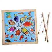 Rrimin Children Magnetic Fishing Rod Fish Model Bath Fun Toy Set