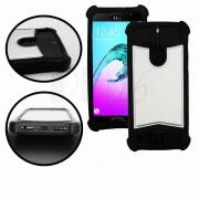 Samsung Galaxy C7 Pro Coque arrière façon cuir argent contours en silicone gel anti-chocs by PH26®