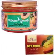 Femina Beauty Papaya Gel 400gm with Pink Root Mix Fruit Facial Kit 83gm
