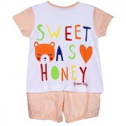 Solid Chest Printed Night Suit - Baby Pink ( 3-6 Month)