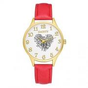 Walfront Gaiety G140 Reloj de Pulsera de Cuarzo para Mujer Elegante Huella Digital en Forma de corazón Patrón Dial Reloj PU Correa de Cuero Reloj Pantalla analógica (Rojo)