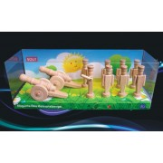 SOLY Dřevěné hračky 2x malé dělo + 8x vojáčci 90 mm