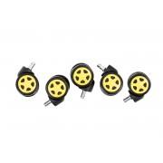 Set 5x Rotelle Sedia Ufficio , nero/giallo CLP, nero/giallo, altezza seduta