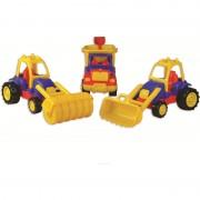 Set 3 utilaje constructie Ucar Toys, Autobasculanta, Buldozer si Tractor compactor